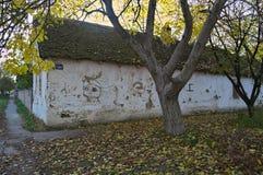 在交叉路的老被放弃的与下落的干燥叶子的房子和树 免版税库存照片