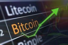 在交换图的Bitcoin从投资的涨价和赢利 经济利益和企业概念 免版税库存图片