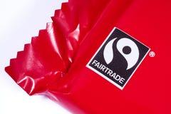 在产品的Fairtrade标志 库存照片
