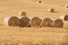 在亩茬地的圆的干草捆 意大利托斯卡纳 免版税图库摄影