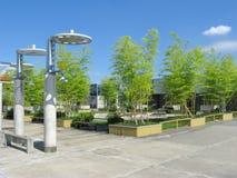 在京都火车站上面的小的庭院  免版税图库摄影