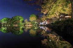 在京都附近的美好的秋天风景 免版税库存图片