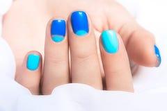 在亮漆的轻和暗色的蓝色修指甲 图库摄影