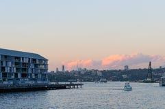 在亲爱的Habour悉尼的日落, 库存图片