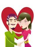 在亲吻在心脏下的爱的夫妇塑造illustra 免版税库存照片