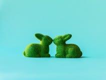 在亲吻的两只绿色兔子 库存图片