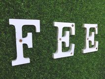 在人为绿草墙壁上的白色木费文本 免版税库存照片