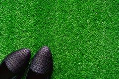 在人为草的黑鞋子 免版税库存图片