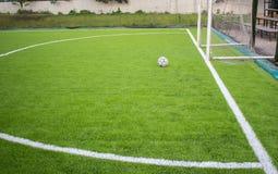 在人为草皮橄榄球场绿色的老橄榄球 免版税库存照片