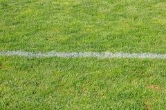 在人为足球场的白色水平的条纹 库存图片