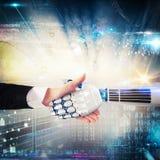 在人和机器人之间的握手 3d翻译 库存照片