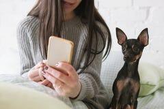 在人和狗之间的强的友谊 库存图片