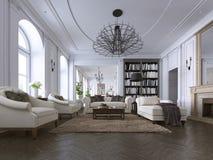 在人字形硬木地板的经典客厅、铣板和天花板造型装备与白色被布置的沙发和 向量例证