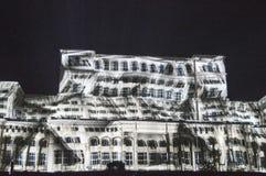 在人民,布加勒斯特的房子的光 库存图片