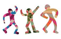 在人的形状的五颜六色的跳舞形象 免版税库存图片