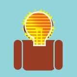 在人的有启发性想法电灯泡 免版税库存图片