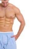 在人的特写镜头有极大的腹肌的 库存照片