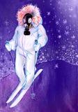 画在人纸防毒面具的,滑雪 免版税图库摄影