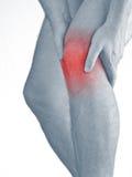 在人膝盖的剧痛。对膝盖ach斑点的男性举行的手  免版税图库摄影