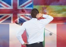 在人认为附近的主要语言旗子 平面背景 免版税库存图片