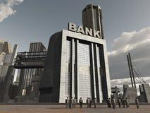 在人身分附近被毁坏的银行城市 库存例证