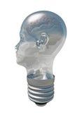 在人头光里面的脑子 免版税库存图片