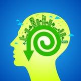 在人头的Eco友好的概念 免版税库存照片
