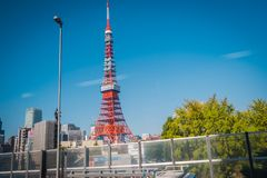 在什巴晃演区,东京,日本的东京塔 库存照片