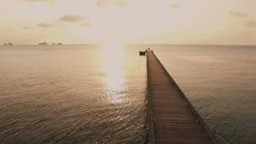 在今后飞行到海洋的码头的空中射击在日落期间 影视素材