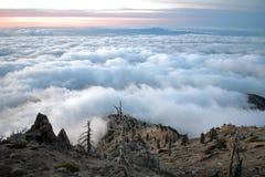 在从峰顶的顶端云彩上 图库摄影
