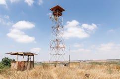 在从最后的审判日留在了赎罪日战争战争在戈兰高地以色列的争斗地堡附近的城楼 免版税库存图片