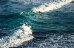 在他的冲浪板的双人冲浪者骑马在波浪在夏天 库存照片