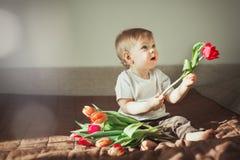 在他的手上拿着红色郁金香一个逗人喜爱的小男孩的画象 在框架的太阳强光 温暖的色彩设计 图库摄影