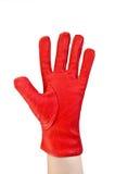 在他的现有量的手套红色 免版税库存图片