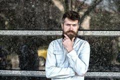 在他的站立在都市场面的40s的疲乏的严肃的商人 寻找某一任务的解答的体贴的有胡子的人 免版税库存图片