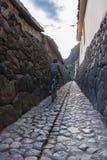 在他的自行车的孩子在一条狭窄的鹅卵石街道上 库存照片