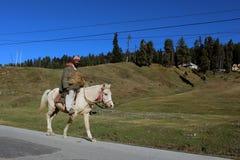 在他的马的牛仔骑马在古尔马尔格,印度 免版税库存图片
