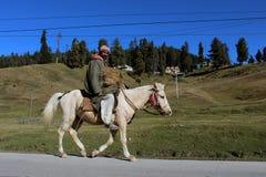 在他的马的牛仔骑马在古尔马尔格,印度 库存图片
