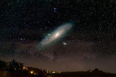 在仙女座星系宇宙之上 图库摄影
