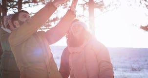 在令人惊讶的冬日每一起享受时间的小组朋友在多雪中间拍与电话的照片 影视素材