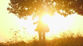 在令人惊讶的日落期间,女孩剪影有太阳镜的转动 股票视频
