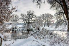 在以后的河岸降雪在一个多云冬日 33c 1月横向俄国温度ural冬天 库存照片