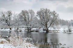 在以后的河岸降雪在一个多云冬日 33c 1月横向俄国温度ural冬天 免版税库存照片