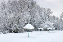 在以后的积雪的海滩降雪在一个多云冬日 33c 1月横向俄国温度ural冬天 图库摄影