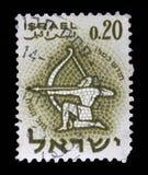 在以色列打印的邮票,展示黄道十二宫人马座 库存照片