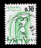 在以色列打印的邮票,展示黄道十二宫宝瓶星座,月安息日 库存照片