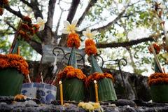 在仪式的蜡烛与香蕉叶子 免版税库存图片