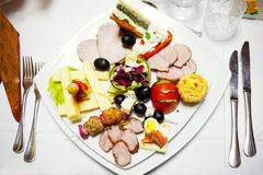 在仪式的食物牌照 库存图片