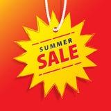 在价牌黄色太阳形状传染媒介的价牌夏天促进网站方形的横幅标题设计横幅或海报的 销售额 向量例证