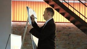 在企业概念上的特写镜头讲师教练的文字 股票视频